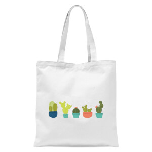 Cacti In A Row Tote Bag - White