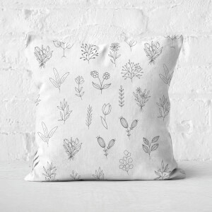 Hand Drawn Flower Pattern Square Cushion