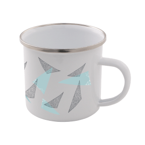 Triangles Enamel Mug – White