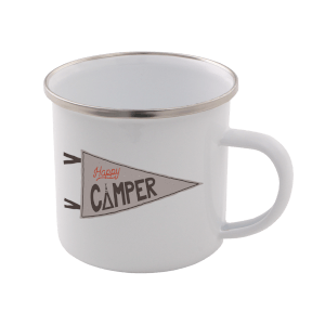 Happy Camper Enamel Mug – White