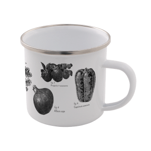 Vegetables Enamel Mug – White