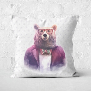 Hipster Bear Square Cushion