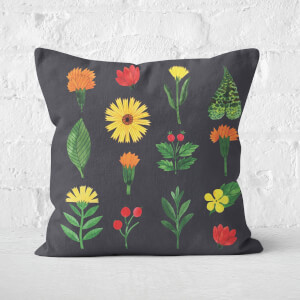 Dark Botanical Flowers Square Cushion