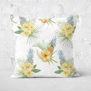 Tropical Leaves With Pineapples Square Cushion