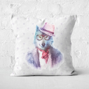 Hipster Wolf Square Cushion