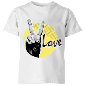 Peace Love With Circular Background Kids' T-Shirt - White