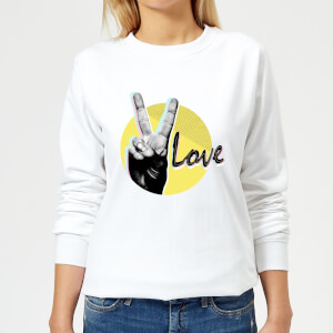 Peace Love With Circular Background Women's Sweatshirt - White
