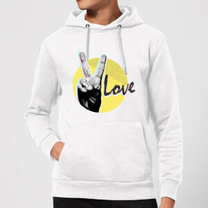 Peace Love With Circular Background Hoodie - White
