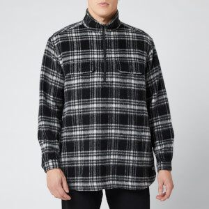 White Mountaineering Men's Check Shaggy Big Pullover Shirt - Black