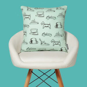 Monopoly Pieces Letterpress Square Cushion
