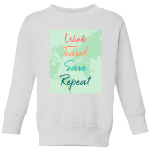Work Travel Save Repeat Background Kids' Sweatshirt - White