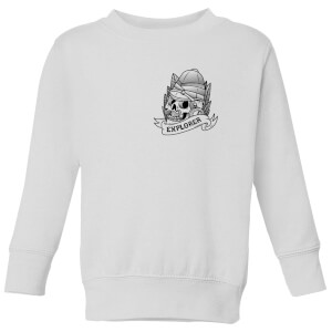 Explorer Skull Pocket Print Kids' Sweatshirt - White