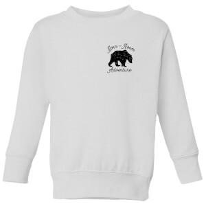 Born To Roam Adventure Pocket Print Kids' Sweatshirt - White