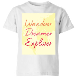 Wander Dreamer Explorer Background Kids' T-Shirt - White