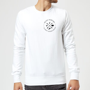 Never Mundane Always Adventurous Pocket Print Sweatshirt - White
