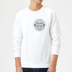 Vintage Old School Backpacker Pocket Print Sweatshirt - White