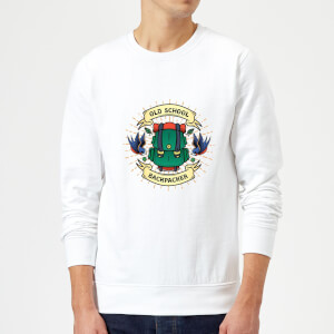 Vintage Old School Backpacker Sweatshirt - White