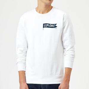 Explore! Flag Pocket Print Sweatshirt - White