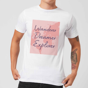 Wander Dreamer Explorer With Map Background Men's T-Shirt - White