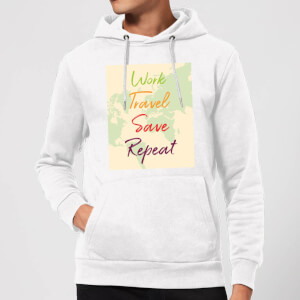 Work Travel Save Repeat Map Background Hoodie - White