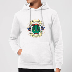 Vintage Old School Backpacker Hoodie - White