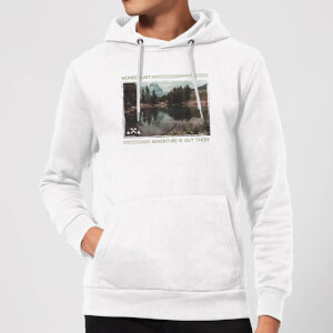 Forest Photo Scene Wonderlust Adventure Is Out There Hoodie - White