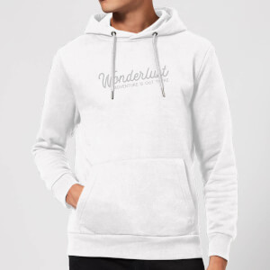 Wonderlust Adventure Is Out There Text Hoodie - White