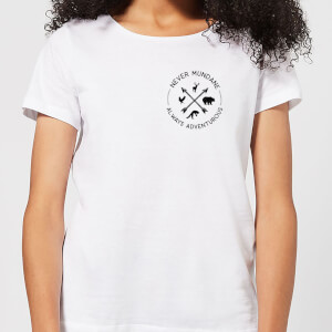 Never Mundane Always Adventurous Pocket Print Women's T-Shirt - White