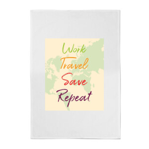 Work Travel Save Repeat Map Background Cotton Tea Towel