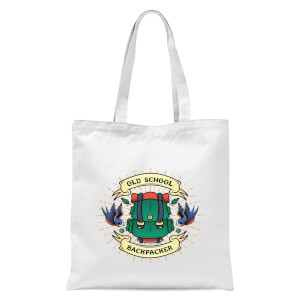 Vintage Old School Backpacker Tote Bag - White