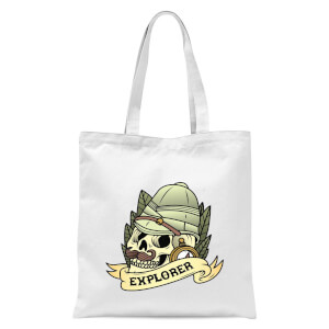 Explorer Skull Tote Bag - White