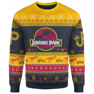 Zavvi Exclusive Jurassic Park Xmas Knitted Jumper - Yellow