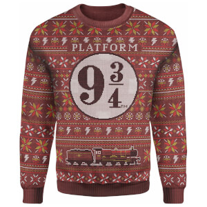 Harry Potter Platform 9 3/4 Christmas Knitted Sweater - Burgundy