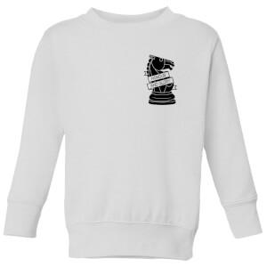Knight Chess Piece Honour And Glory Pocket Print Kids' Sweatshirt - White