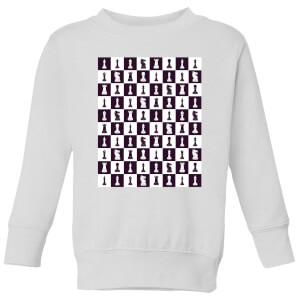 Chess Board Repeat Pattern Monochrome Kids' Sweatshirt - White