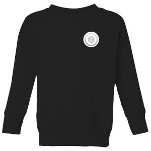 White Checker Pocket Print Kids' Sweatshirt - Black