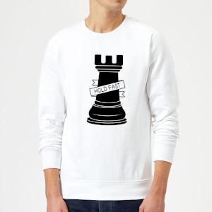 Rook Chess Piece Hold Fast Sweatshirt - White