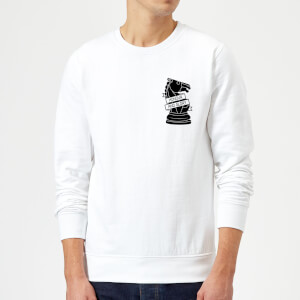 Knight Chess Piece Honour And Glory Pocket Print Sweatshirt - White