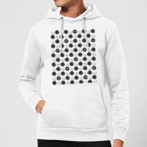 Monochrome Checkers Pattern Hoodie - White