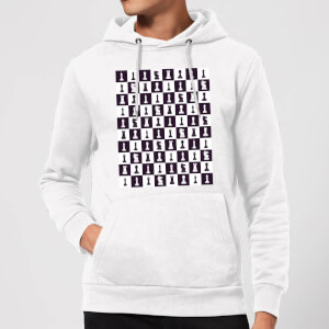 Chess Board Repeat Pattern Monochrome Hoodie - White