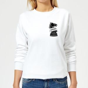 Knight Chess Piece Honour And Glory Pocket Print Women's Sweatshirt - White
