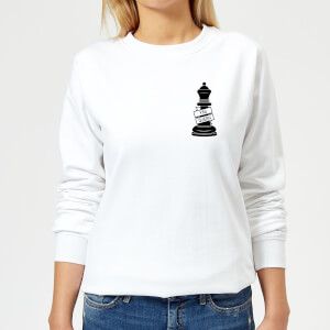 Queen Chess Piece Yas Queen Pocket Print Women's Sweatshirt - White