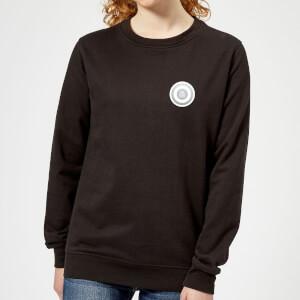 White Checker Pocket Print Women's Sweatshirt - Black