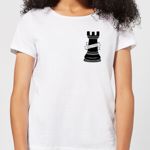 Rook Chess Piece Hold Fast Pocket Print Women's T-Shirt - White