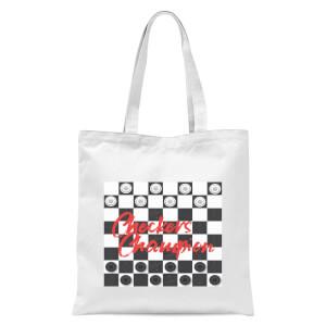 Checkers Board Champion Tote Bag - White