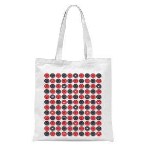 Checkers Pattern Tote Bag - White