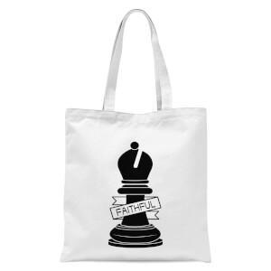 Bishop Chess Piece Faithful Tote Bag - White