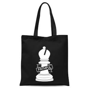 Bishop Chess Piece Faithful Tote Bag - Black