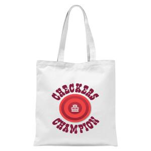 Checkers Champion Red Checker Tote Bag - White