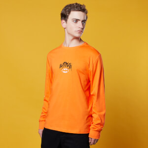 Batman Embroidered Chest Long Sleeve T-Shirt - Orange